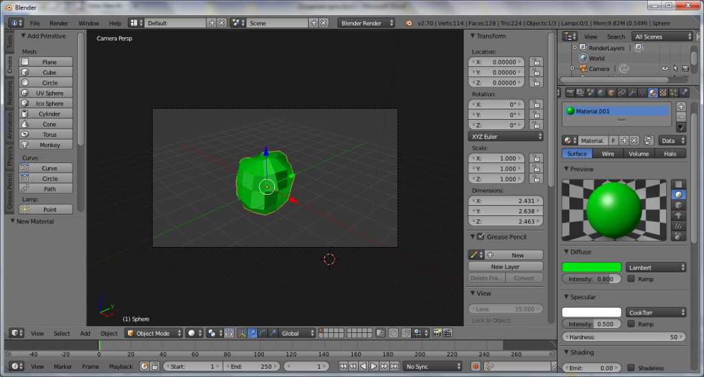 Как создать лоу-поли кустарник в программе Blender?