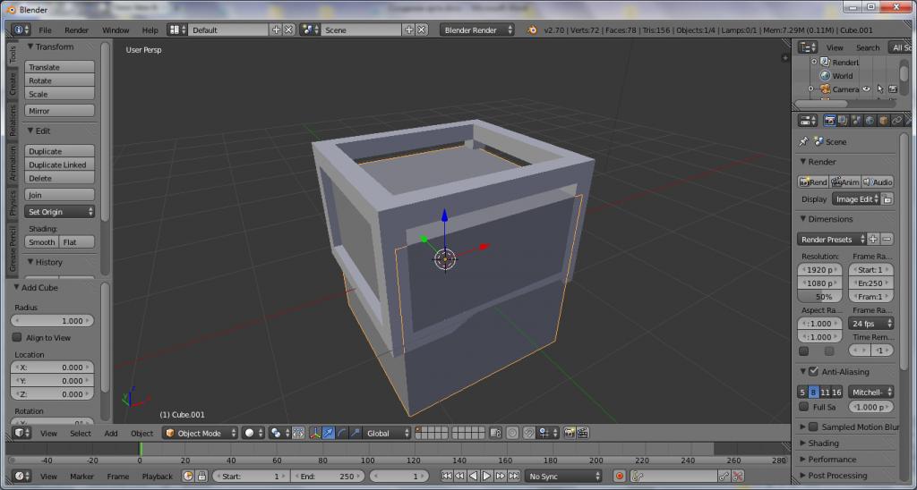 Как сделать лоу-поли ящик в программе Blender?