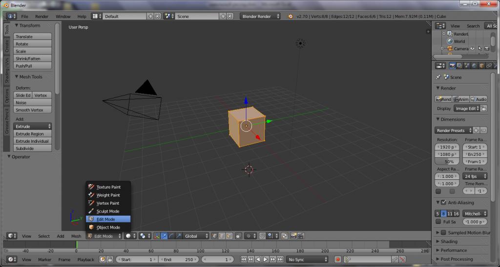 куб в blender