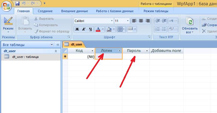 Результат создания таблицы в MS Access
